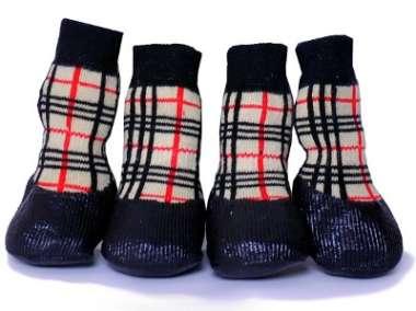 БАРБОСКИ носки для прогулки с латексным покрытием клетка