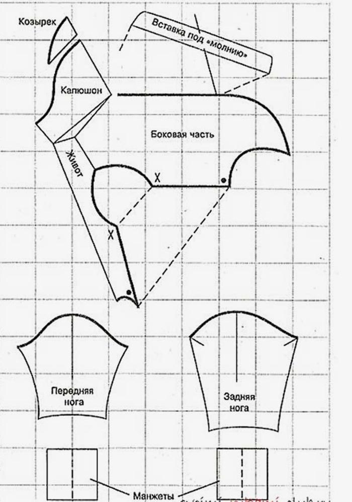 Выкройка комбинезона с капюшоном для чихуахуа своими руками